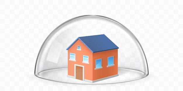 Huis bedekt met glazen koepel realistische vector Gratis Vector