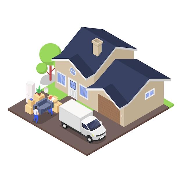 Huis bewegend concept. verhuizers lossen een vrachtwagen vol kartonnen dozen met diverse huishoudelijke artikelen. Premium Vector