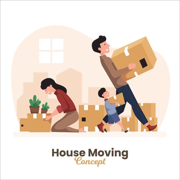 Huis bewegend concept Gratis Vector