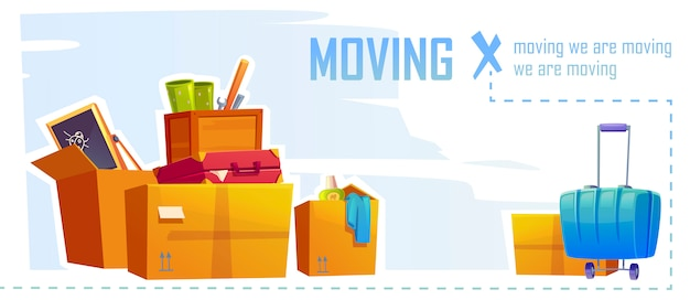 Huis bewegende banner met illustratie van kartonnen dozen en koffer. cartoon achtergrond met kartonnen verpakking voor thuis dingen, gereedschappen, tassen en spullen. concept van verhuizing, verandering van appartement Gratis Vector