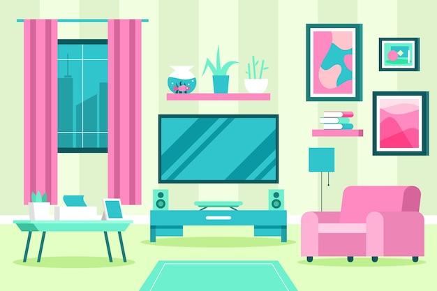 Huis binnenlandse roze en blauwe schaduwen als achtergrond Gratis Vector