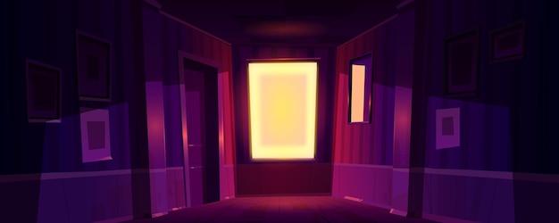 Huis donkere gang met zonlicht uit raam 's ochtends of' s avonds. Gratis Vector