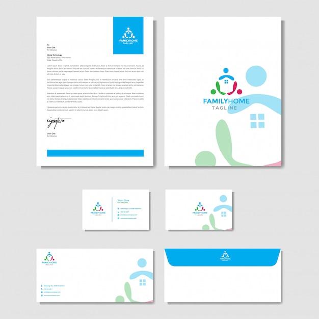 Huis familie logo met briefpapier sjabloon Premium Vector