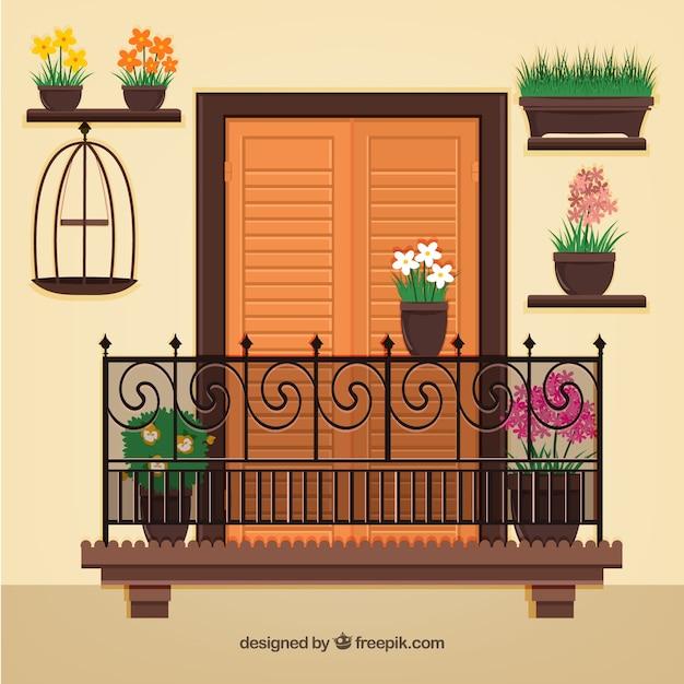 Huis gevel met een balkon Gratis Vector