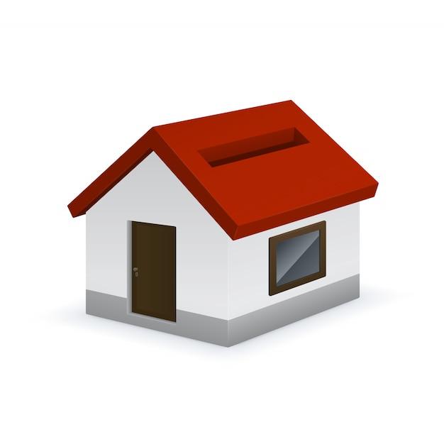Huis gevormde spaarvarken pictogram Premium Vector