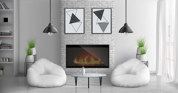 Huis gezellige woonkamer 3d-realistische interieur met glazen salontafel, boekenkasten, abstracte schilderijen op de muur, bloempotten, hangende lampen, twee bonen tas stoelen in de buurt van open haard illustratie Gratis Vector