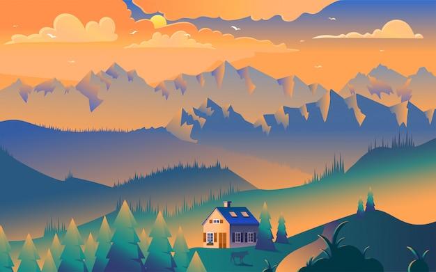 Huis in bergen minimalistische illustratie Premium Vector