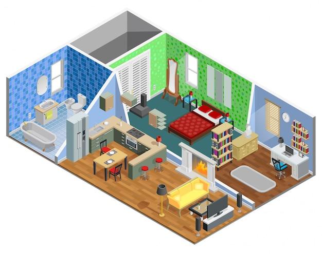 Huis interieur ontwerp Gratis Vector