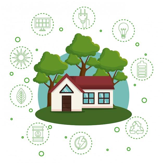 Huis met de pictogrammen van de wereld redden Gratis Vector