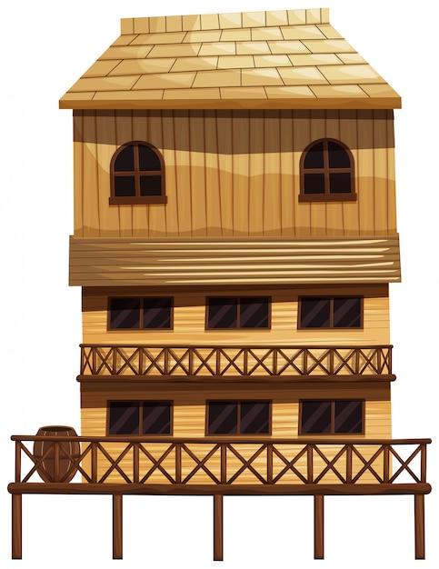 Huis met drie verdiepingen van hout Gratis Vector