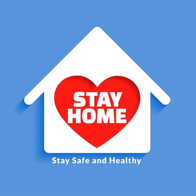 Huis met hart voor verblijf thuis conceptontwerp Gratis Vector