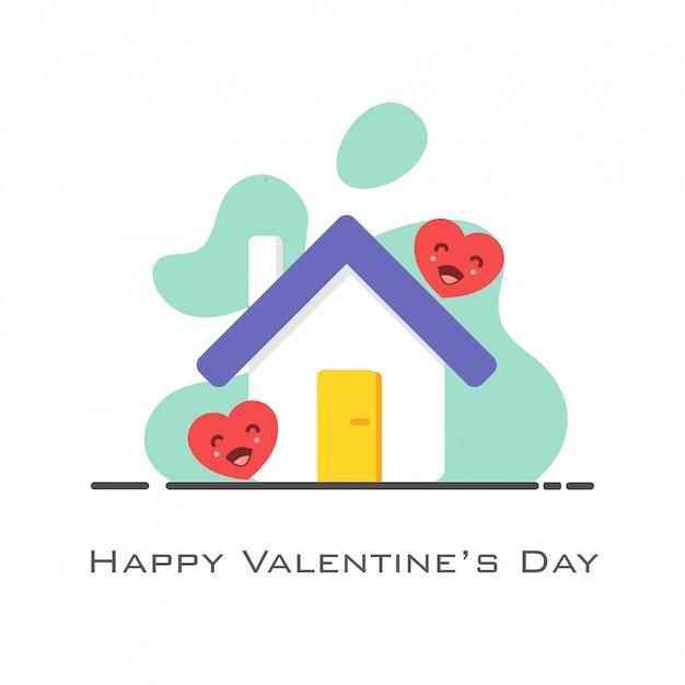 Huis met harten in vlakke stijl voor valentijnsdag Premium Vector
