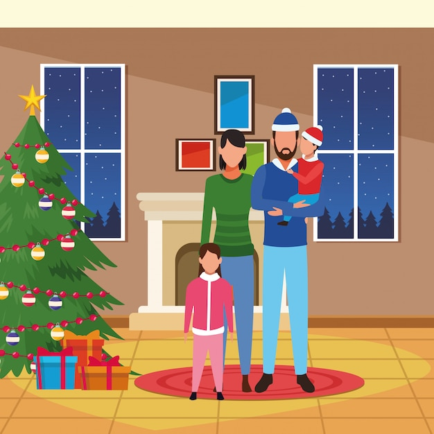 Huis met kerstdecoratie en gelukkige familie Premium Vector