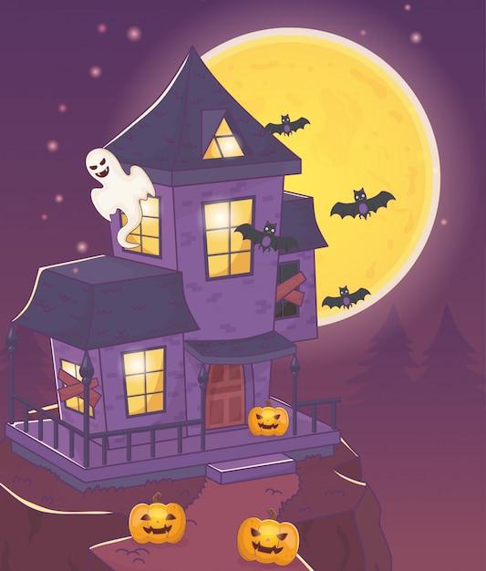 Huis met spookknuppels en pompoen halloween Premium Vector
