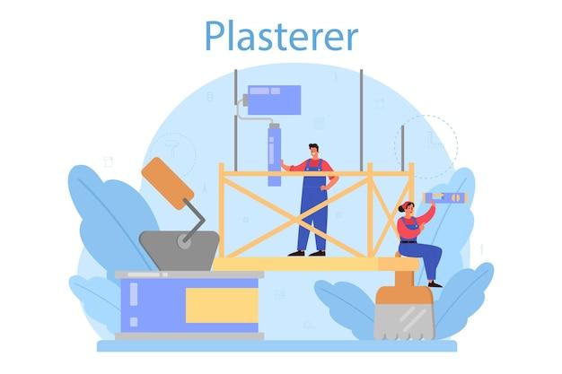 Huis muur stukadoor concept. mensen in de uniforme pleistermuur met spatel. renovatie van het huis. persoon op het werk. Premium Vector