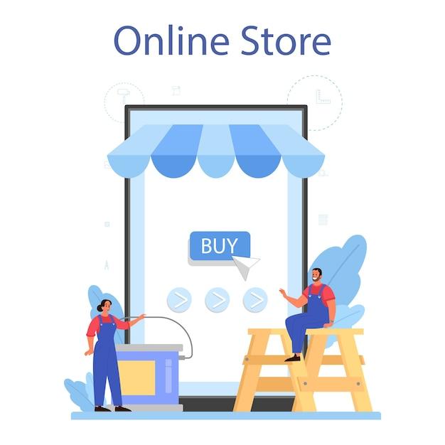 Huis muur stukadoor online service of platform set. Premium Vector