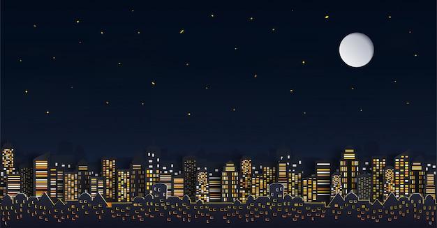 Huis of dorp. en cityscape met groep wolkenkrabbers in de nacht. Premium Vector
