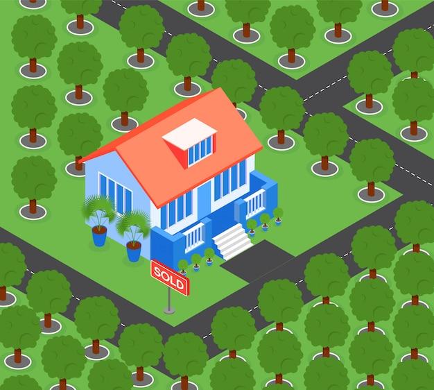 Huis omgeven door bomen Gratis Vector