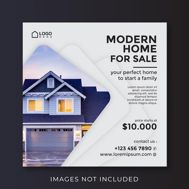 Huis onroerend goed vierkante banner voor sociale media Premium Vector