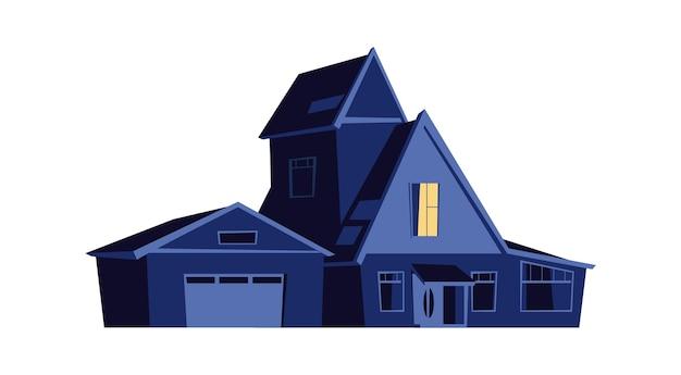 Huis 's nachts, bouwen met gloeiende ramen in het donker, cartoon afbeelding Gratis Vector