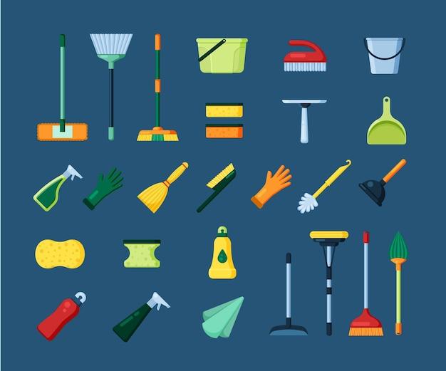 Huis schoonmaken tools set Premium Vector