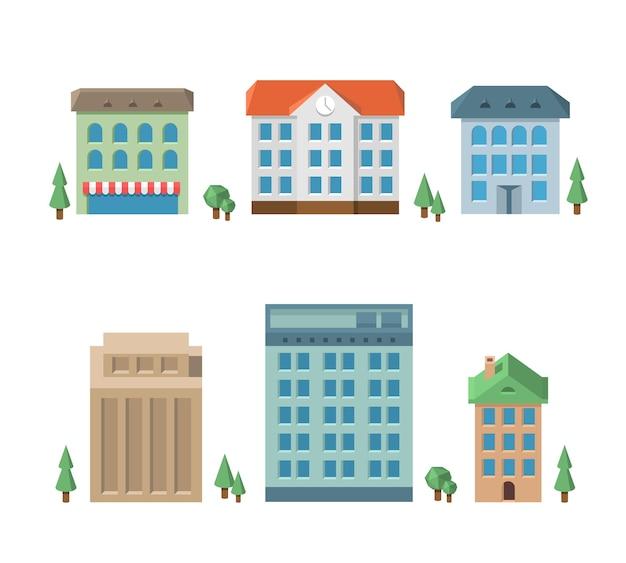 Huis set. architectuur appartement, woningbouw, zakelijke met meerdere artikelen Gratis Vector