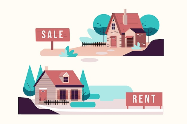 Huis te koop en te huur illustratie Premium Vector