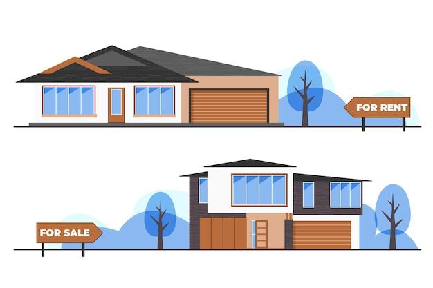 Huis te koop / huur concept Gratis Vector