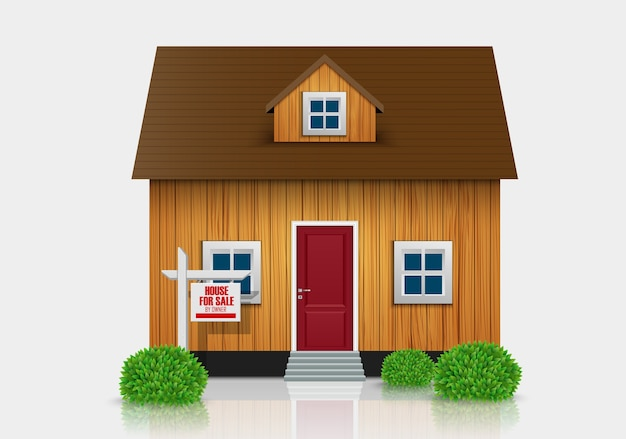 Huis te koop illustratie Premium Vector