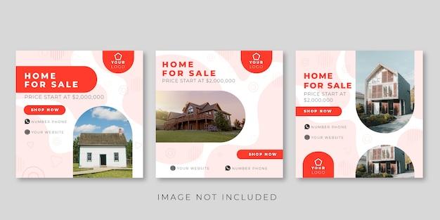 Huis te koop sociale media post sjabloon Premium Vector