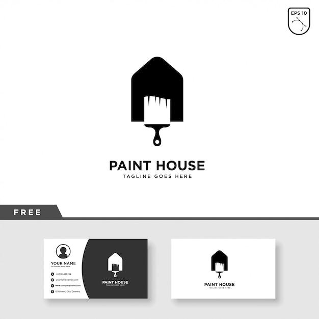 Huis verf logo en visitekaartjesjabloon Premium Vector