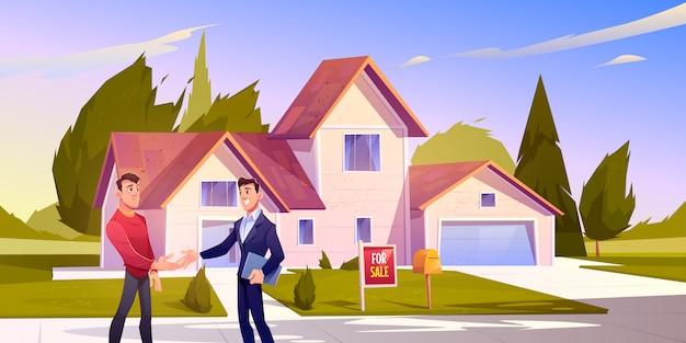 Huis verkoop deal makelaar schud hand met huiseigenaar Gratis Vector