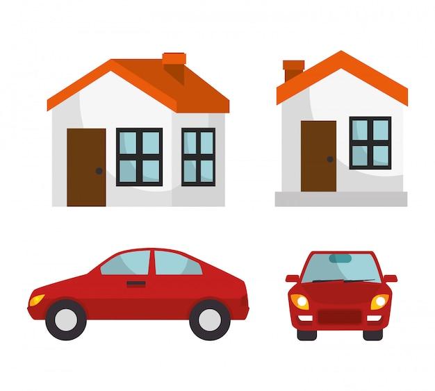 Huis verzekering huis auto bescherming ontwerp Gratis Vector