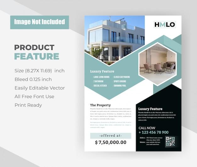 Huis voor verkoop onroerend goed flyer sjabloon Gratis Vector