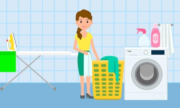 Huis wasserij concept banner, vlakke stijl Premium Vector