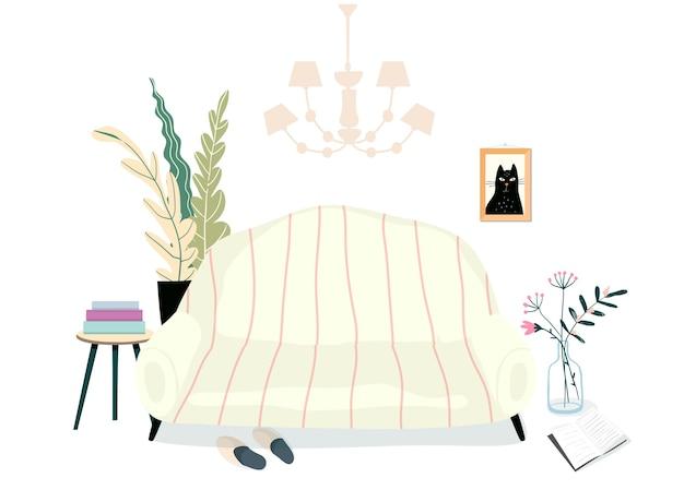 Huis woonkamer interieur met meubels. bank of bank, kamerplanten, boeken en pantoffels huiselijke en warme kamerillustratie. dagelijks lezen ontspannende plek. Premium Vector