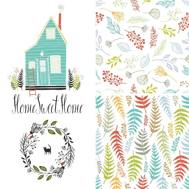 Huis zoet huis, bloemen varen patronen en ronde frame Gratis Vector