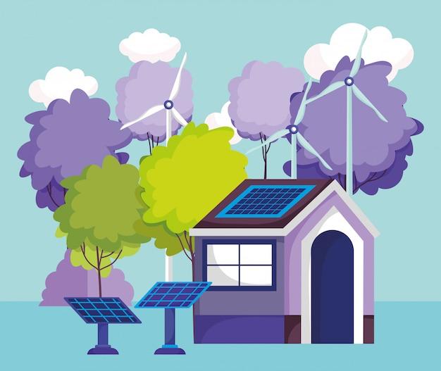 Huis zonnepanelen turbine wind bomen natuur energie eco Premium Vector