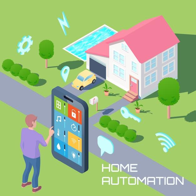 Huisautomatisering isometrische ontwerpsamenstelling Gratis Vector
