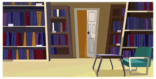 Huisbibliotheek met boekenkastenillustratie Gratis Vector