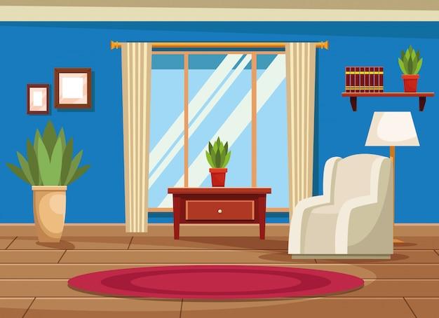 Huisbinnenland met meubilairlandschap Gratis Vector