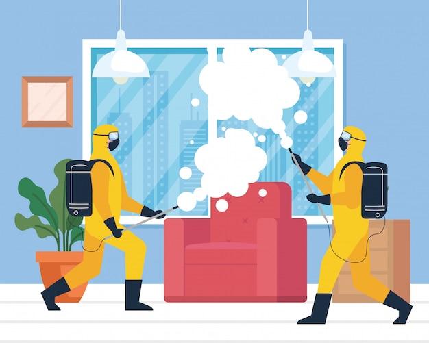 Huisdesinfectie door commerciële desinfectiedienst, ontsmettingsmedewerkers Premium Vector