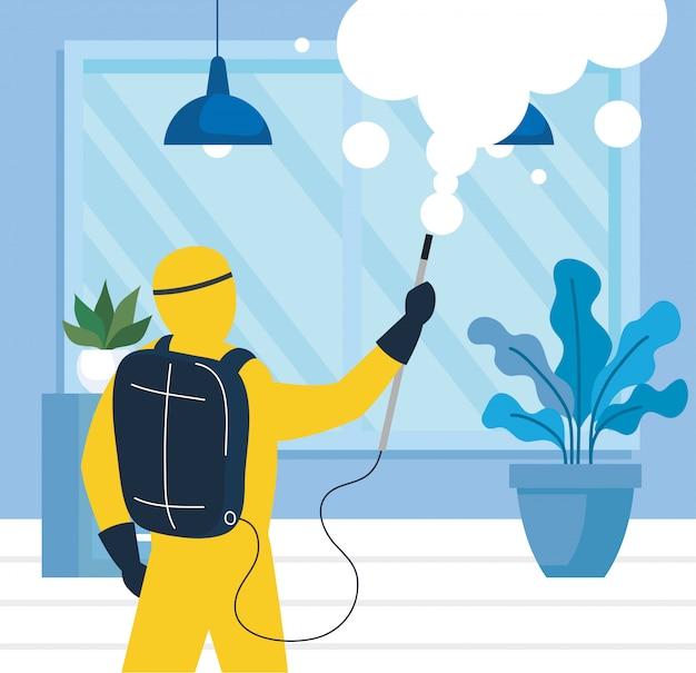 Huisdesinfectie door commerciële desinfectieservice, desinfectiemedewerker met beschermend pak en spray voorkomen covid 19 Premium Vector