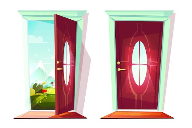 Huisdeur open en gesloten illustratie van ingang met mening over bloemen in straat Gratis Vector
