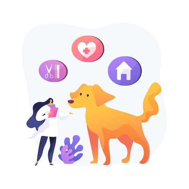 Huisdier diensten abstract concept illustratie. dierenoppas en -pension, dierenverzorging, hondenuitlaatservice, trimsalon, kinderopvang en verzorging, vervoer Gratis Vector