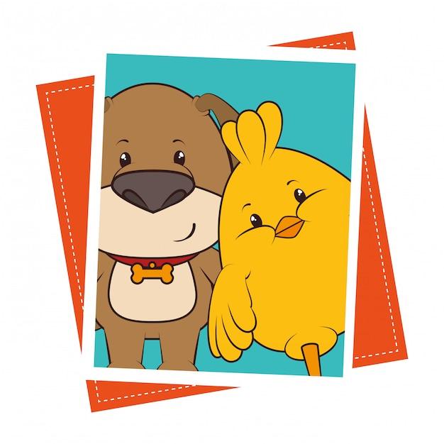 Huisdier en dieren grappige cartoon Gratis Vector