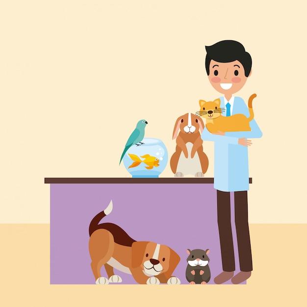Huisdier en dierenarts Gratis Vector