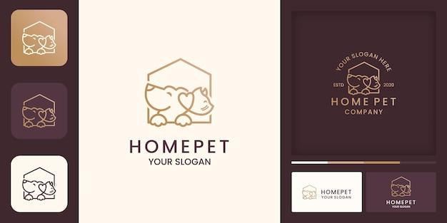 Huisdier huis logo met lijnstijl en visitekaartje Premium Vector