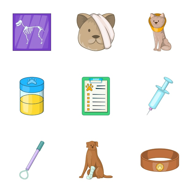 Huisdier veterinaire kliniek iconen set, cartoon stijl Premium Vector