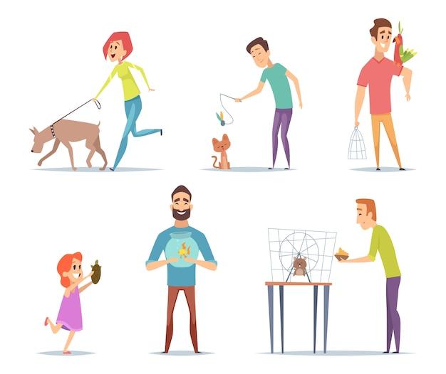 Huisdieren. eigenaars met hun huisdieren kat hond papegaai blije personages met dieren collectie in cartoon-stijl Premium Vector